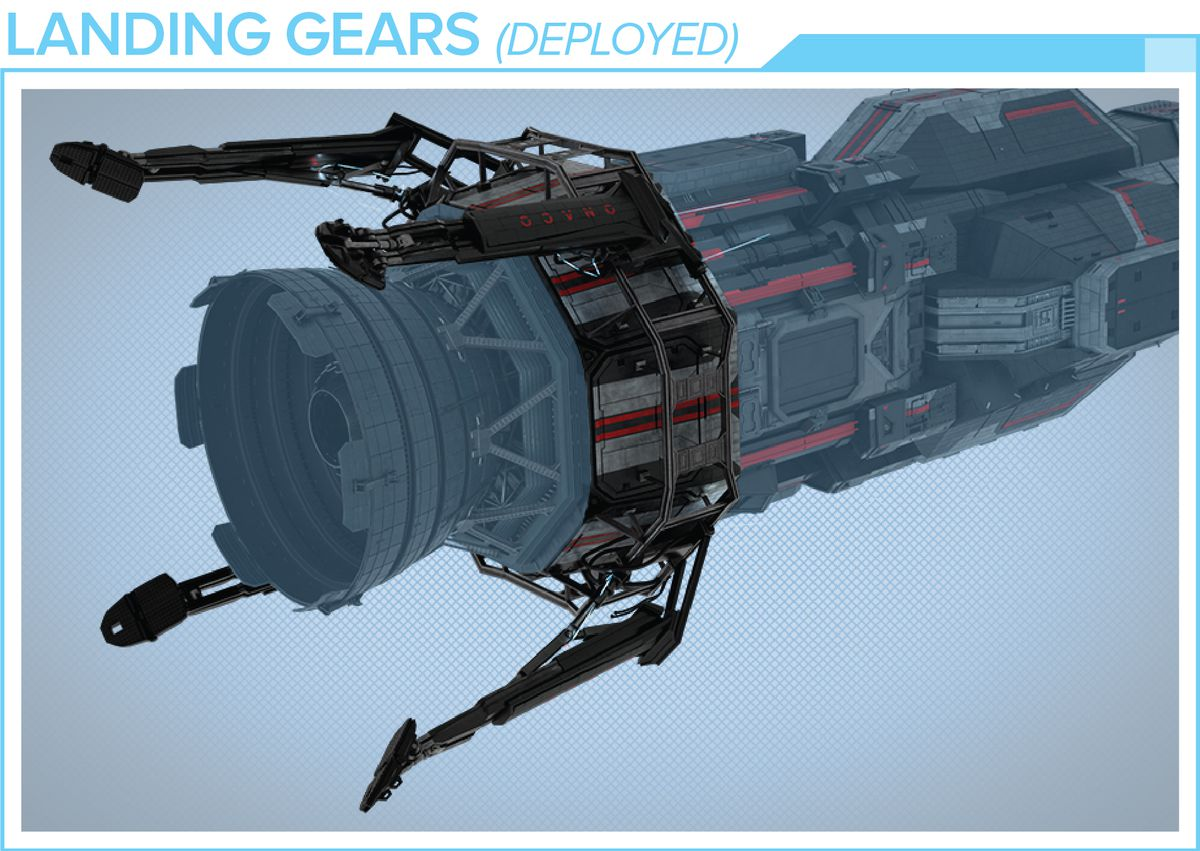 The ship will come with two sets of landing gear, one extended and the other retracted.