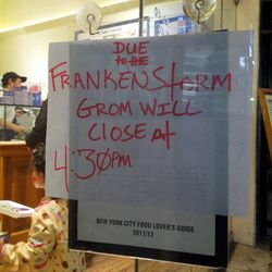 """Grom Gelato's sign on Sunday. [<a href=""""http://myupperwest.com/upper-west-side/uws-photos-of-the-day-sandy-sunday/"""">My Upper West</a>]"""