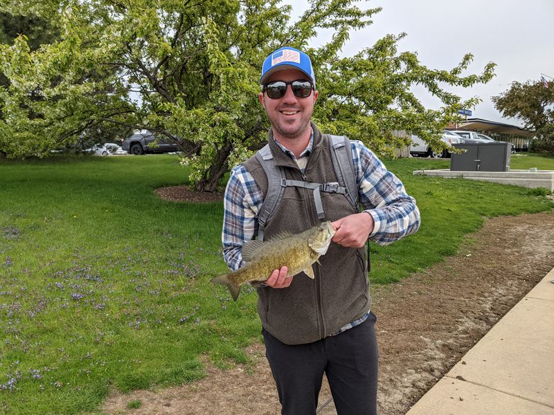 James Hay with a smallmouth bass from Northerly Island on Saturday. Credit: Dale Bowman