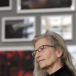 """Annie Leibovitz answers questions during an interview before the opening of her exhibition at the Wexner Center for the Arts Friday, Sept. 21, 2012, in Columbus, Ohio. Leibovitz's exhibition features work from her """"Master Set,"""" an authoritative edition of 156 images."""