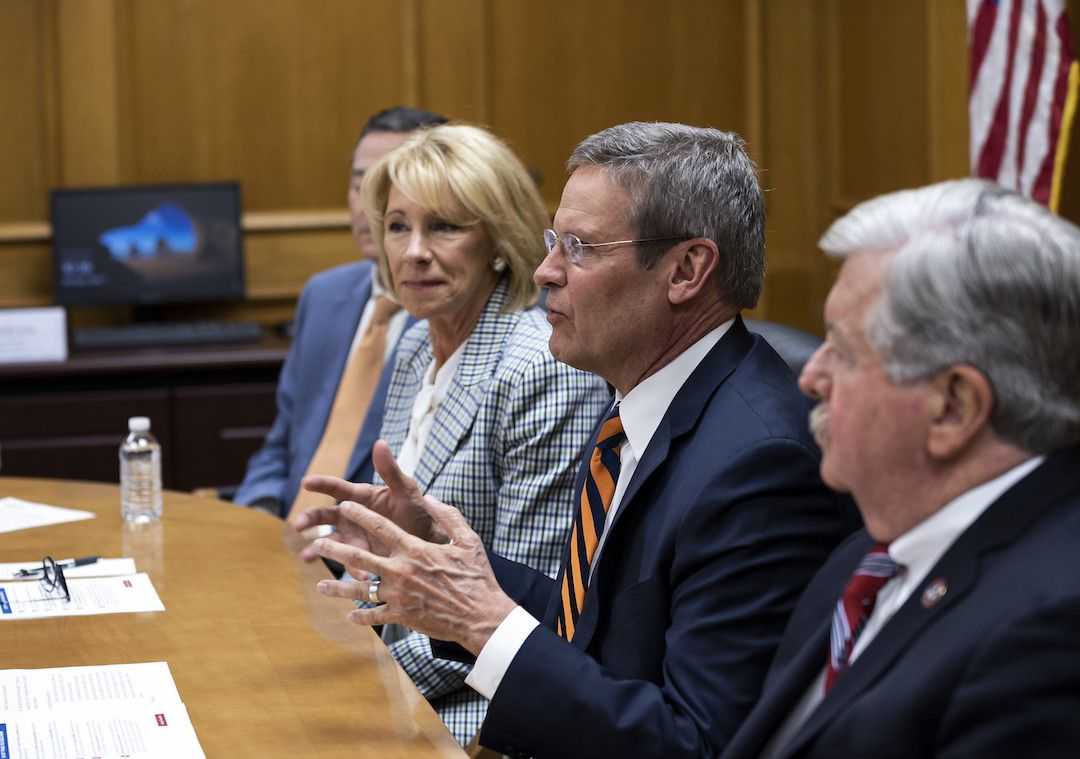 Gov. Bill Lee speaks about school choice during an April 1 roundtable discussion with U.S. education secretary Betsy DeVos in Nashville.