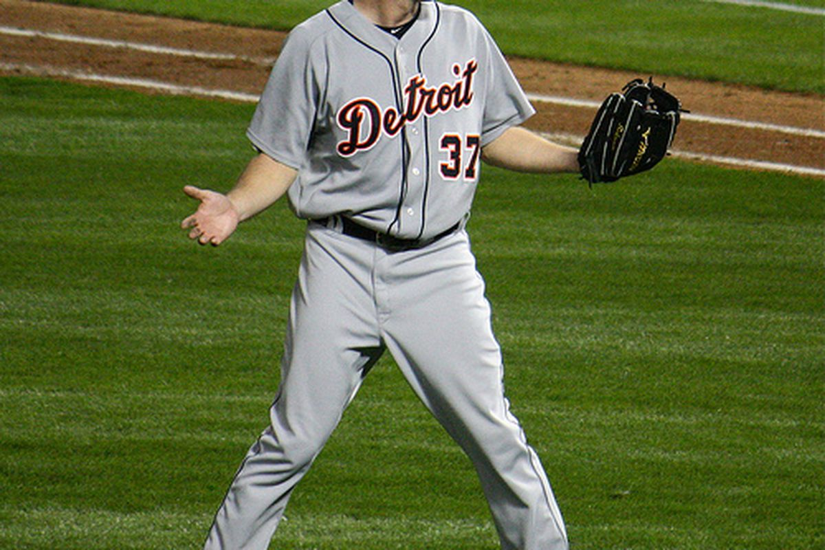 Max Scherzer reacts to the balk call allowing a run to score. (photo by our own Allikazoo, who was at the game)