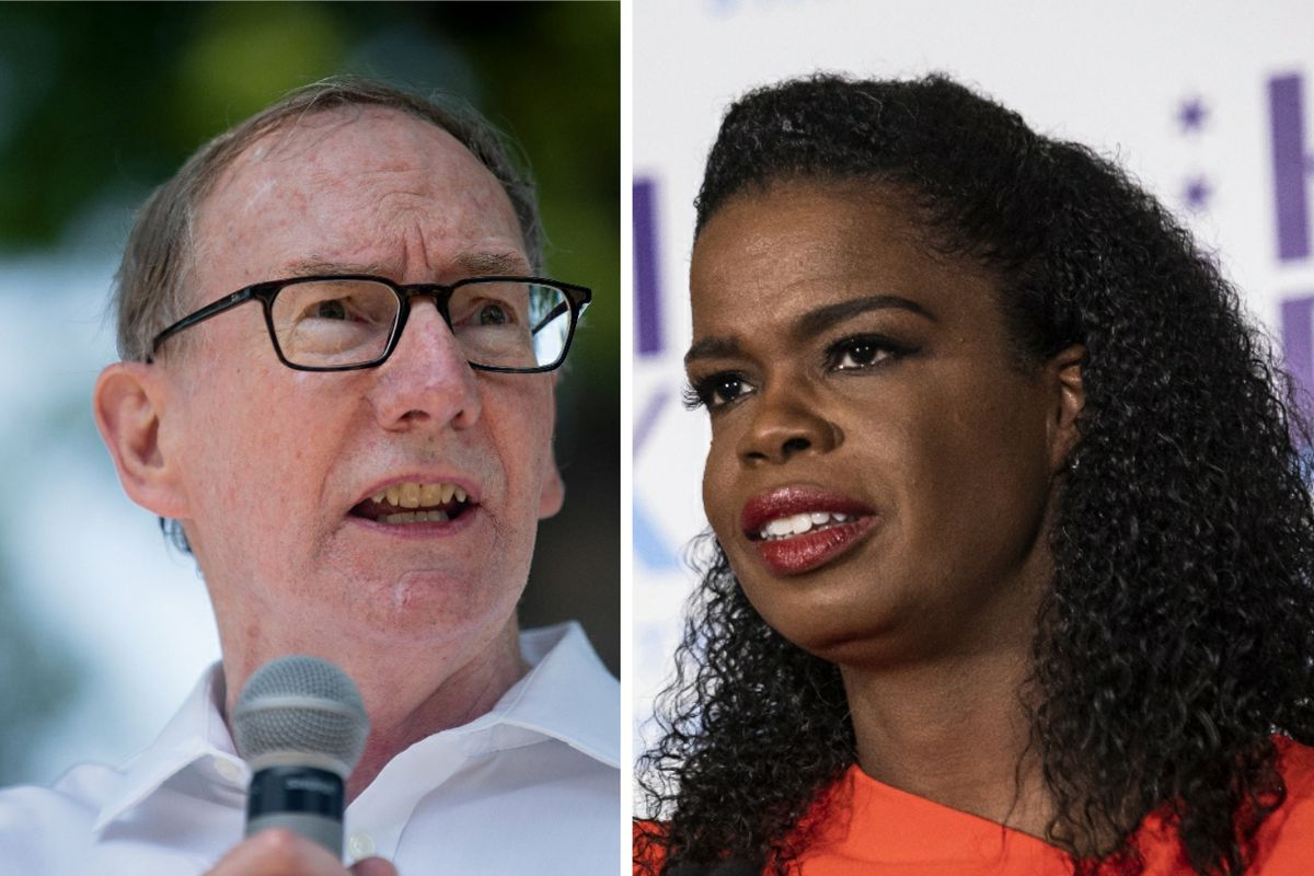 Republican nominee Pat O'Brien, left, in July; Cook County State's Attorney Kim Foxx, right, in March.