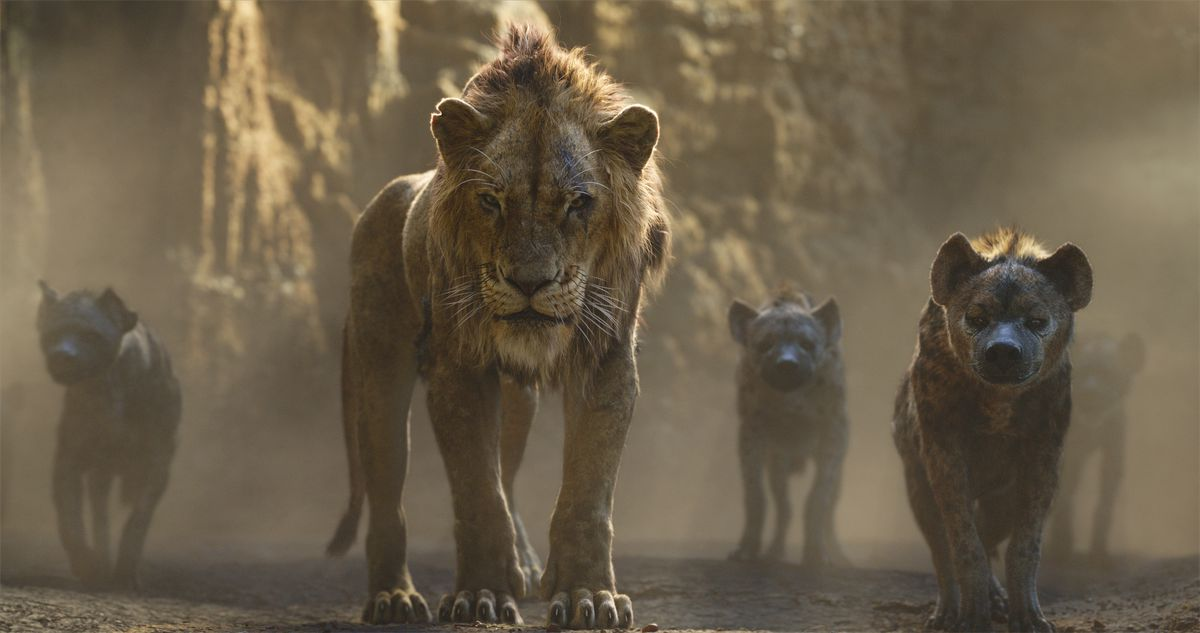 """This image released by Disney shows Scar, voiced by Chiwetel Ejiofor, center, in a scene from """"The Lion King."""""""