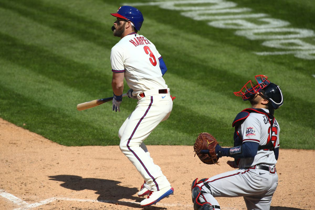 Philadelphia Phillies right fielder Bryce Harper hits a single in the eighth inning against the Atlanta Braves at Citizens Bank Park.