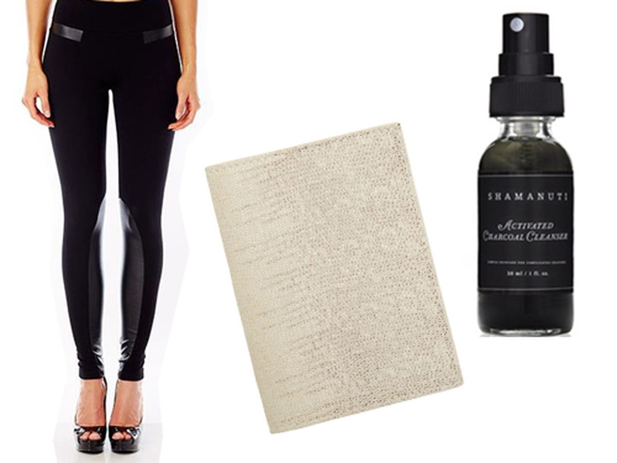 "Daniela Corte Nolita Legging, <a href=""http://www.danielacorte.com/collections/legging-bar/products/nolita-legging-with-faux-leather-detail"">$235</a>; Barneys Lizard Stamped Passport Cover, <a href=""http://www.barneys.com/on/demandware.store/Sites-B"