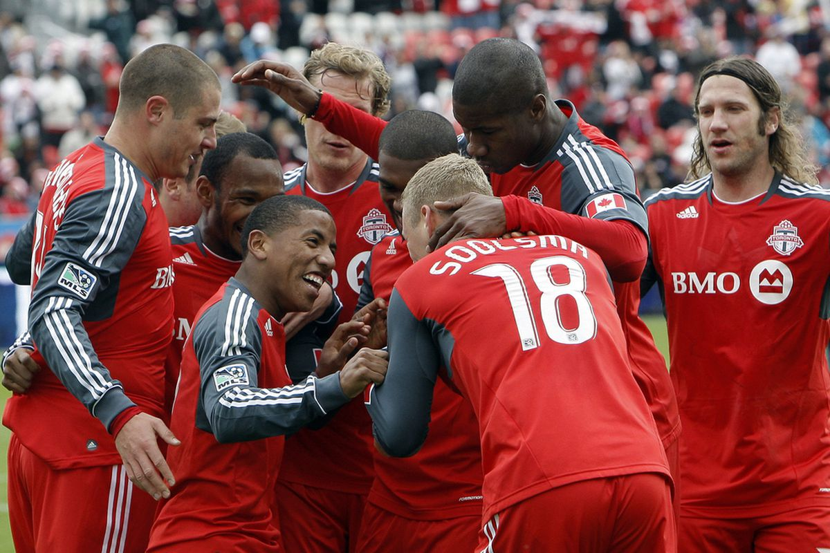 TORONTO, CANADA - OCTOBER 22: Toronto FC celebrates Nick Soolsma goal against New England Revolution during MLS action at BMO Field October 22, 2011 in Toronto, Ontario, Canada. (Photo by Abelimages/Getty Images)