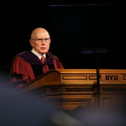 Elder Dallin H. Oaks speaks at commencement exercises at Brigham Young University in Provo on Thursday, Aug. 13, 2015.