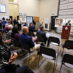 Salt Lake City Mayor Jackie Biskuspski releases her annual budget proposal in Salt Lake City on Monday, April 30, 2018.