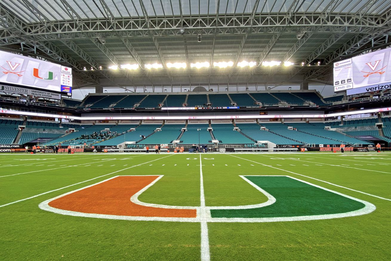 NCAA Football: Virginia at Miami