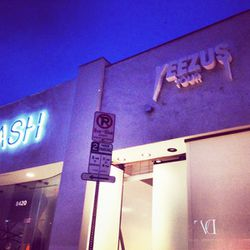 The shop is next door to Kanye's fiance Kim's store, Dash. Awww.