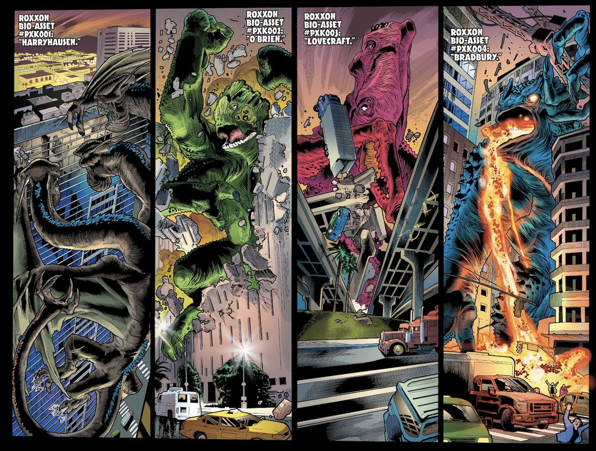 kaiju dragons, squids, and lava monsters attack a city and hulk has to stop them in immortal hulk #29