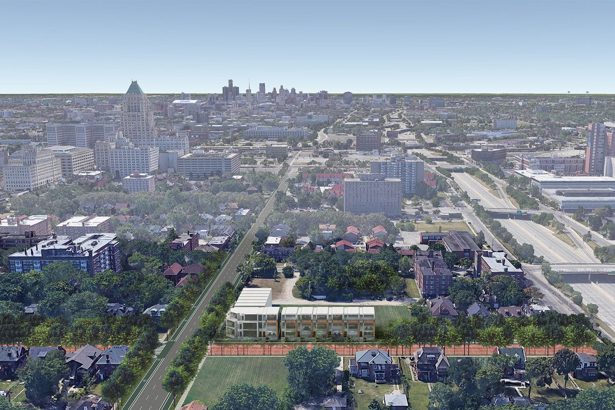Aerial view of a residential neighborhood with some taller buildings in the background. There's a rendering of a multi-story development at an intersection.