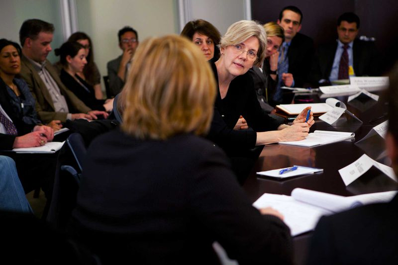 Elizabeth Warren in 2011 leading a discussion.