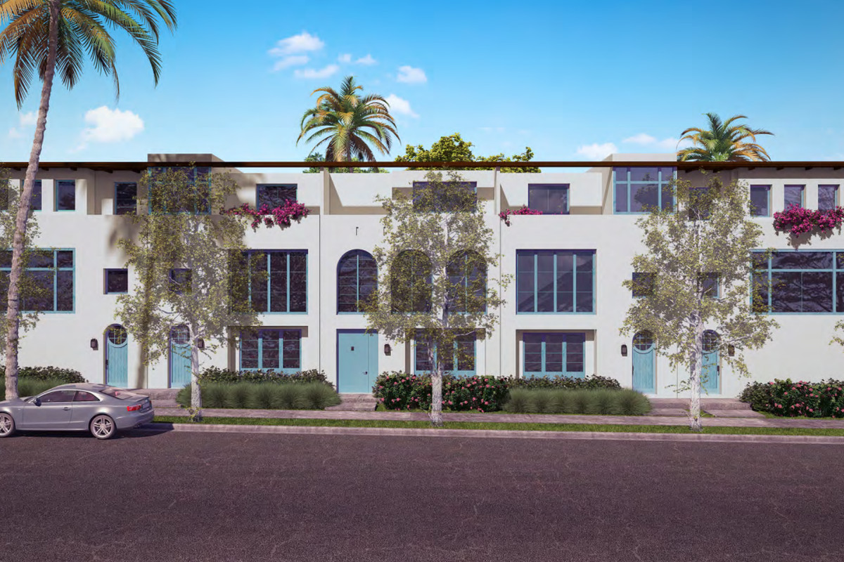 A rendering of a row of white townhouses with balconies on their top floors. The sidewalk and street are visible in front of the townhouses.