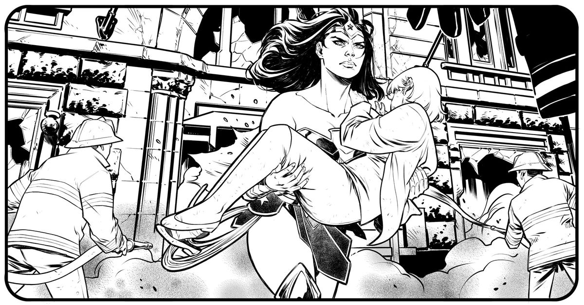 Wonder Woman carries a woman out of a burning building, in unfinished art from Wonder Woman #750, DC Comics (2020).