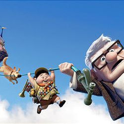 """Dug the dog, Russell and Carl Fredricksen are buoyed by balloons as they take the trip of a lifetime in """"Up."""""""