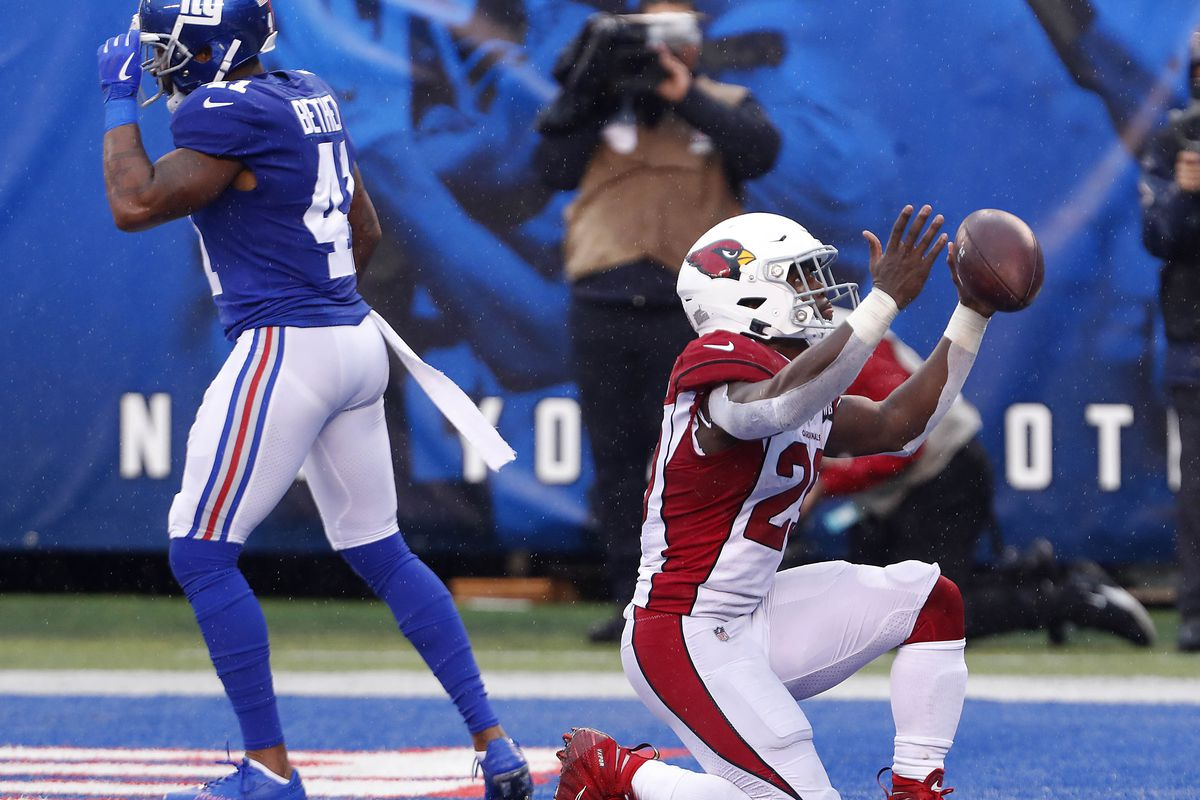 Arizona Cardinals running back Chase Edmonds celebrates after scoring a touchdown against the New York Giants during the second half at MetLife Stadium.