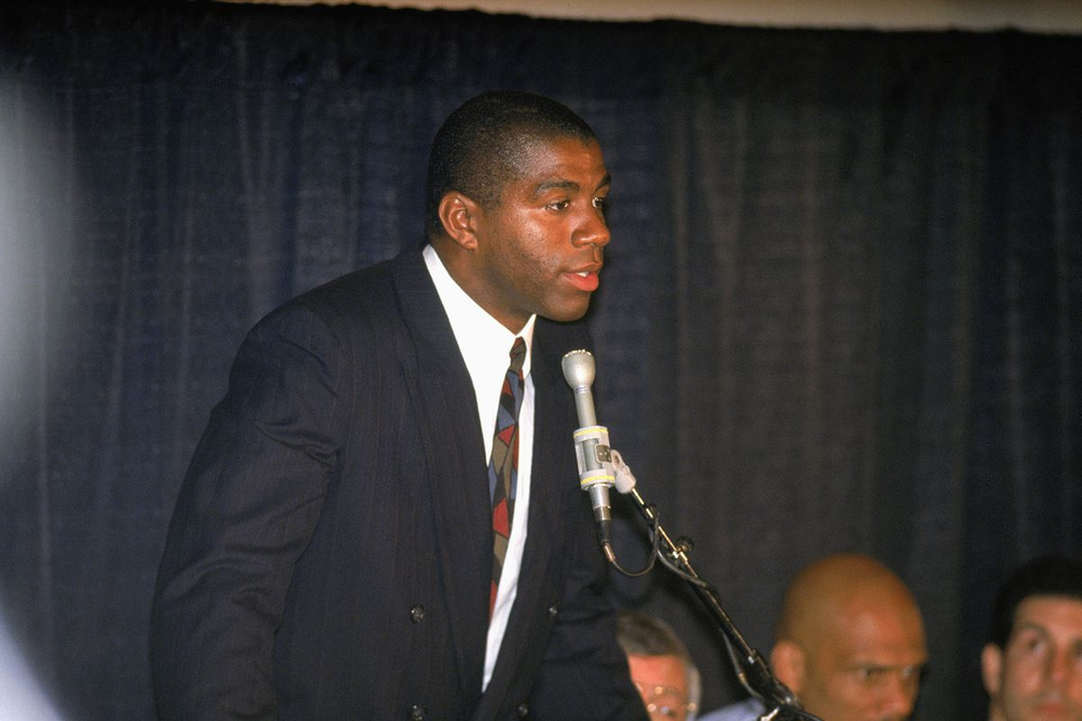 Magic Johnson announced to the world that he had to retire from the Lakers on November 7, 1991, because he was HIV positive. (Stephen Dunn | Getty Images)