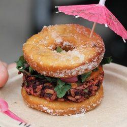 Hella Vegan Eats' vegan donut burger.