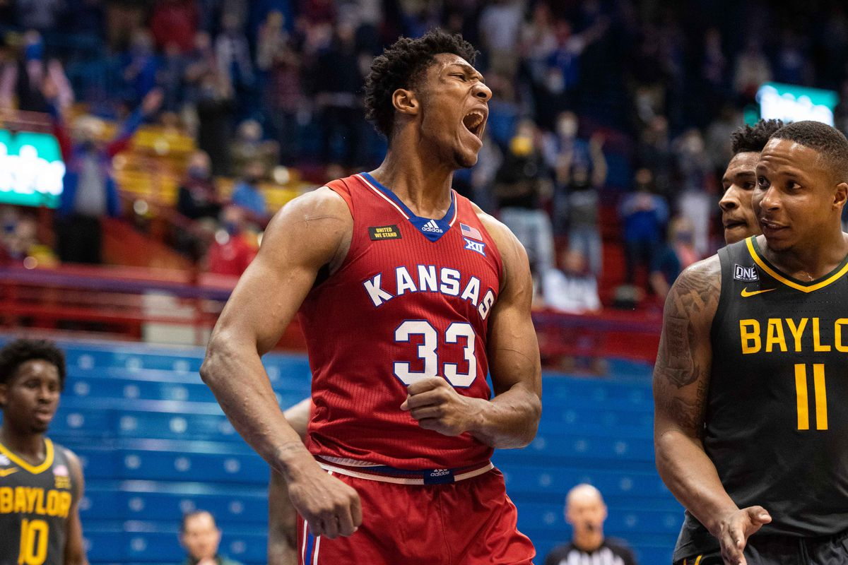 Kansas Jayhawks forward David McCormack (33) reacts after a play against the Baylor Bears in the second half at Allen Fieldhouse.