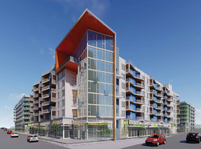 A rendering of a large mixed-use project with ground floor space and apartments above.