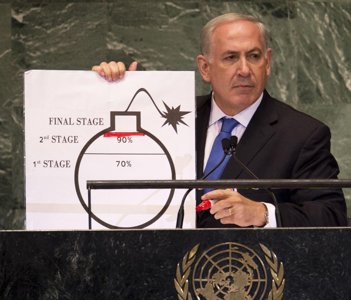 netanyahu iran bomb diagram