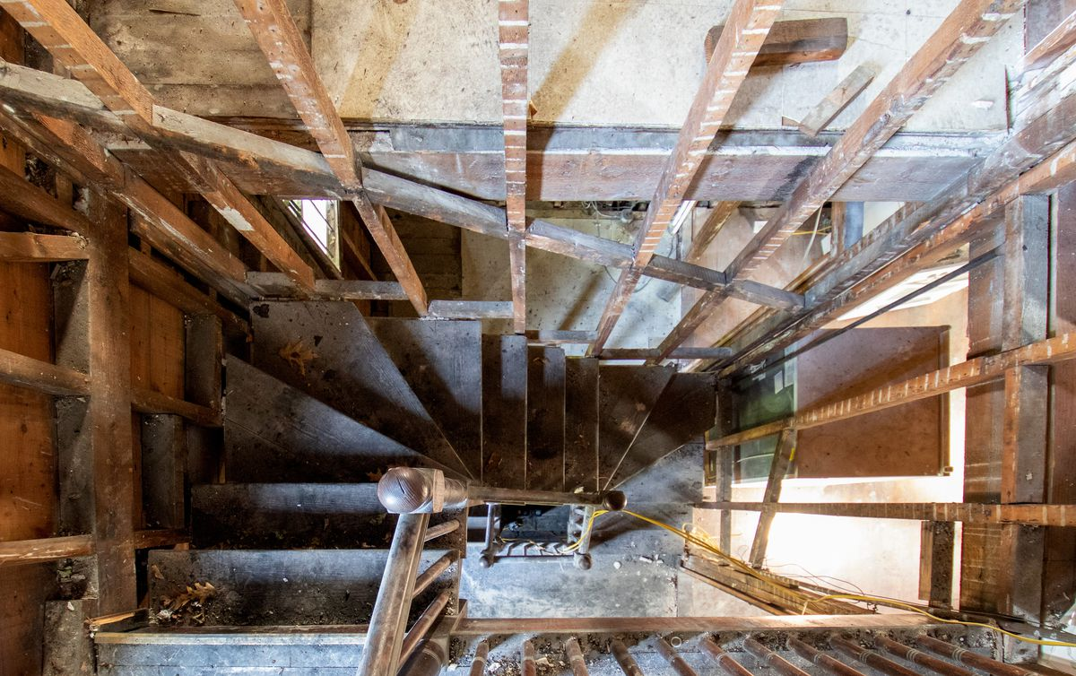 Spring 2021, Dorchester 1st look, fire-damaged back stairwell
