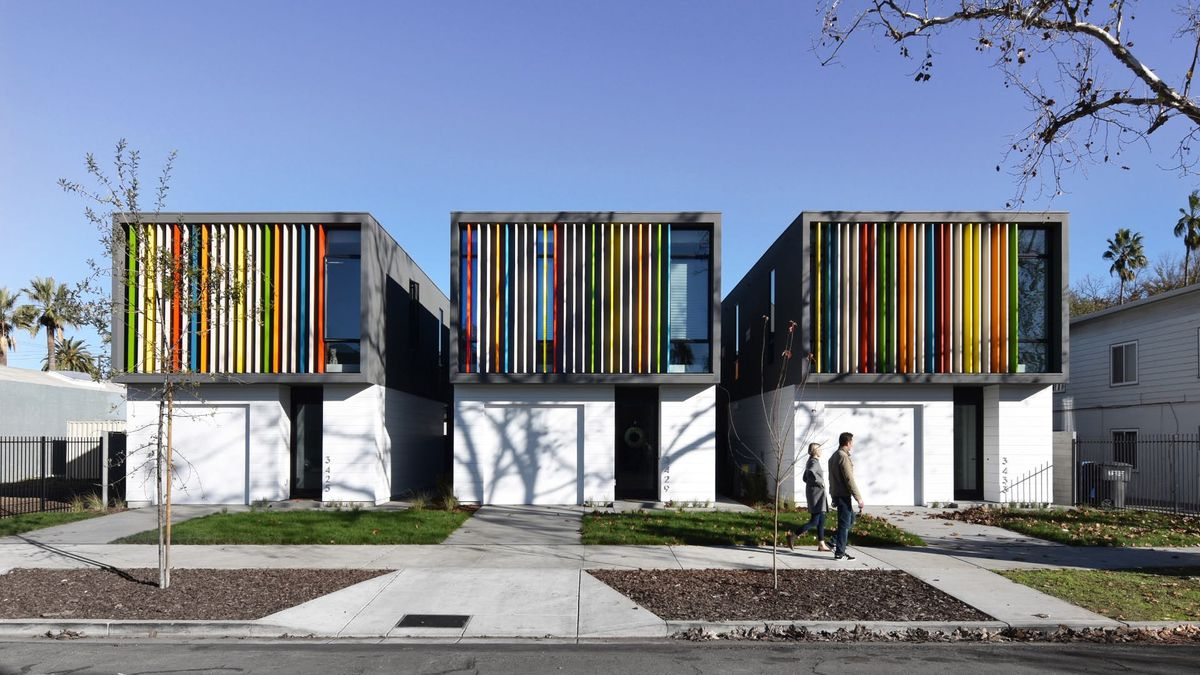 House with colorful louvers