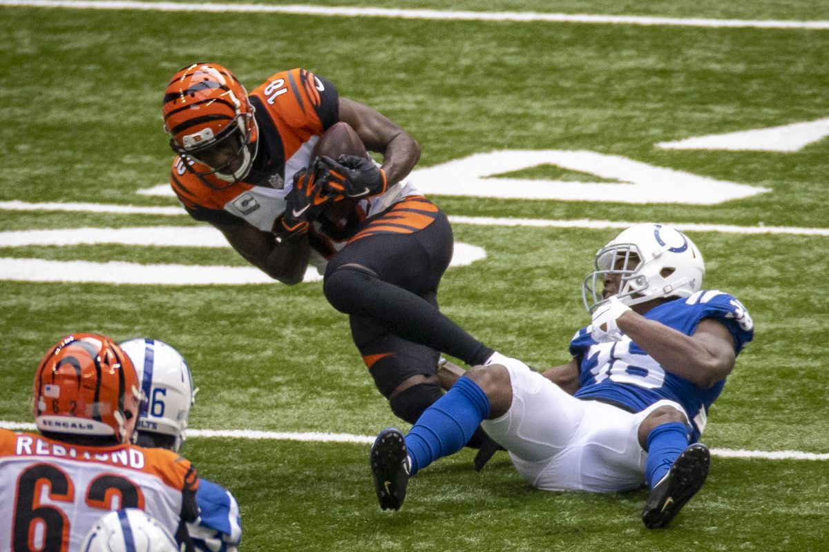 A.J. Green of the Cincinnati Bengals makes a first down catch during the fourth quarter of the game against the Indianapolis Colts at Lucas Oil Stadium on October 18, 2020 in Indianapolis, Indiana.