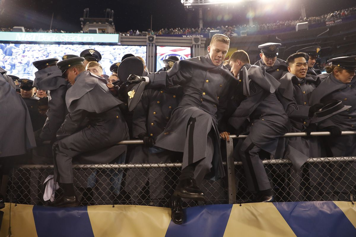 b470388ac Cadets rush the field after the Army defeated Navy 21-17 breaking a 14-year  losing streak in the rivalry. Photo by Aaron P. Bernstein Getty Images