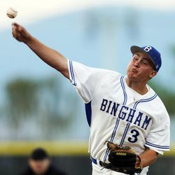 Bingham pitcher Spencer Estey delivers a pitch as Bingham and Pleasant Grove play Wednesday, May 21, 2014 in a 5A one-loss bracket game at Kearns.