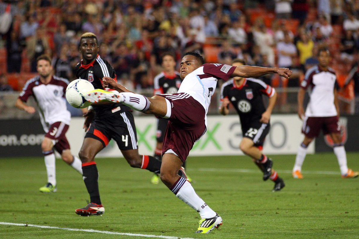 WASHINGTON, DC - MAY 16: Jaime Castrillon #23 of the Colorado Rapids shoots the ball against D.C. United at RFK Stadium on May 16, 2012 in Washington, DC.(Photo by Ned Dishman/Getty Images)