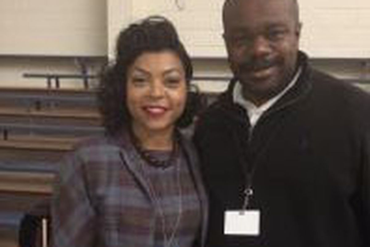 """Taraji P. Henson, who played Katherine Johnson in """"Hidden Figures,"""" with Rudy Horne, the Chicago native who was the math consultant for the movie."""