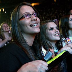 Brittany Webb gazes at David Archuleta as he performs at the E Center in West Valley City on Friday.