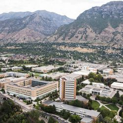 Brigham Young University's campus is seen from the air on Friday, Sept. 6, 2013.