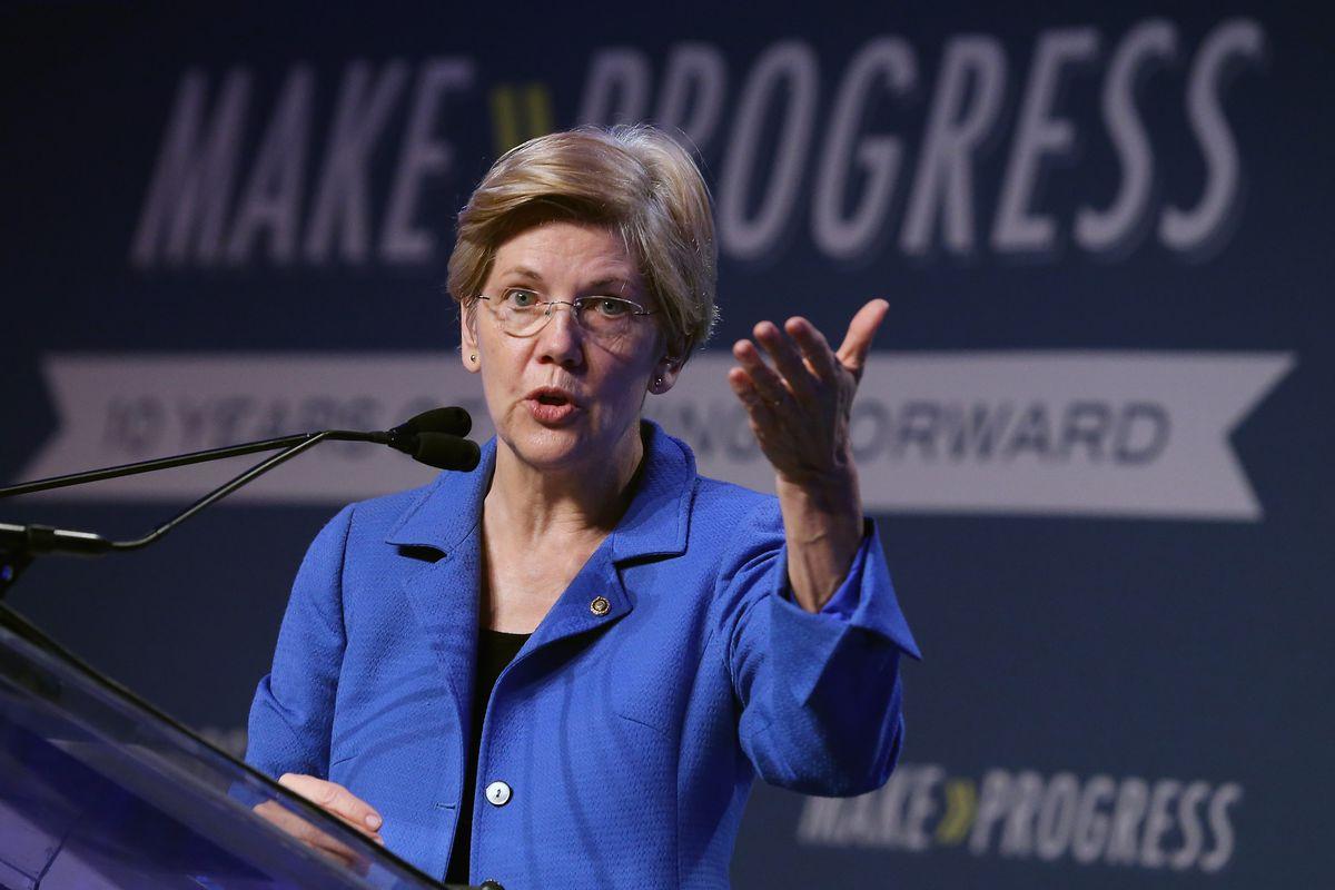 Elizabeth Warren speaks at the Center for American Progress Annual Summit.