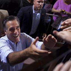 Republican presidential candidate, former Massachusetts Gov. Mitt Romney greets supporters during a campaign rally. Saturday, Sept. 1, 2012, in Cincinnati, Ohio.