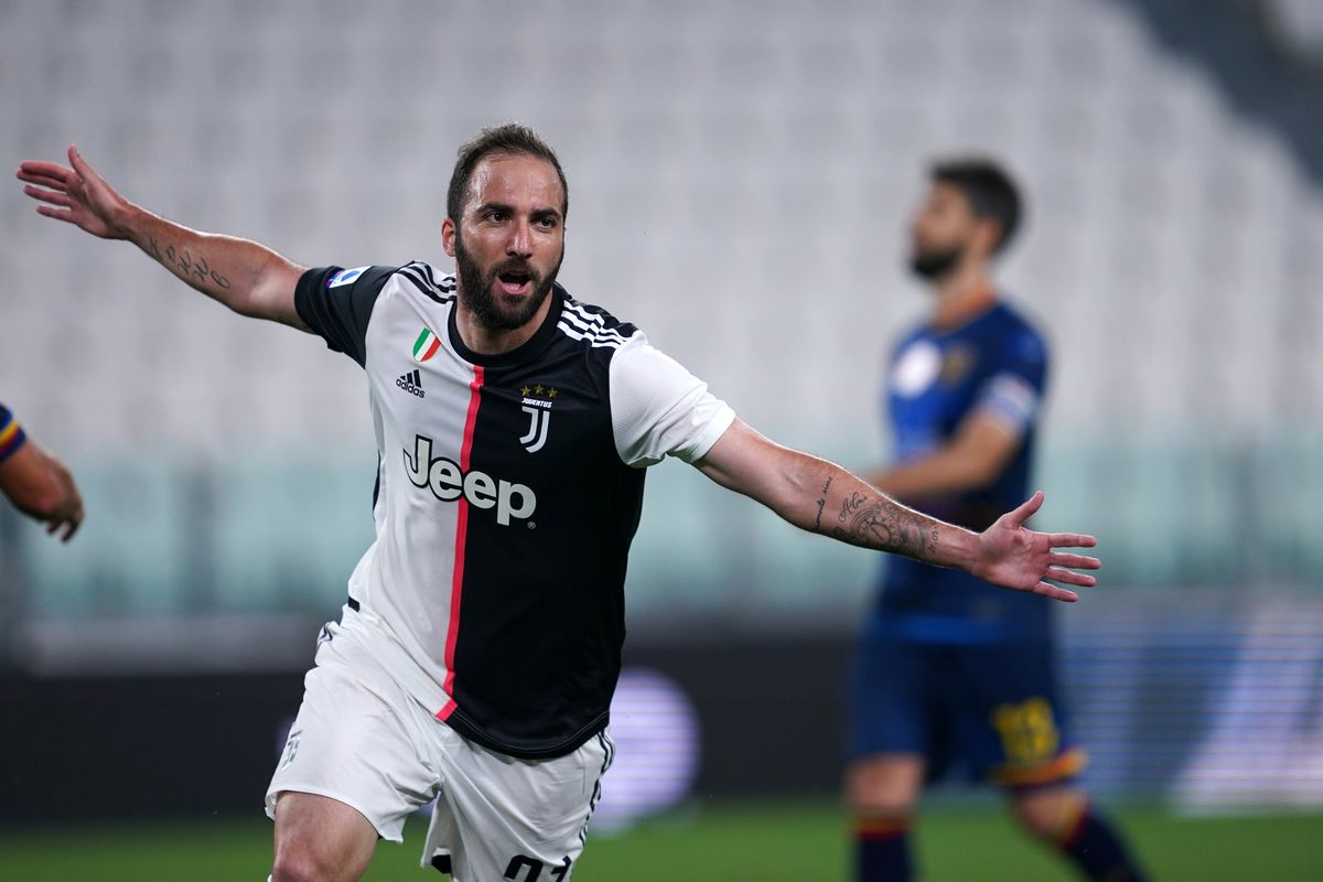 Gonzalo Higuain of Juventus FC celebrate after scoring a...