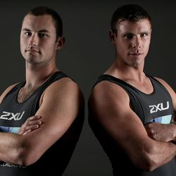 New Zealand rowers Michael Arms and Robbie Manson pose in Cambridge, New Zealand.