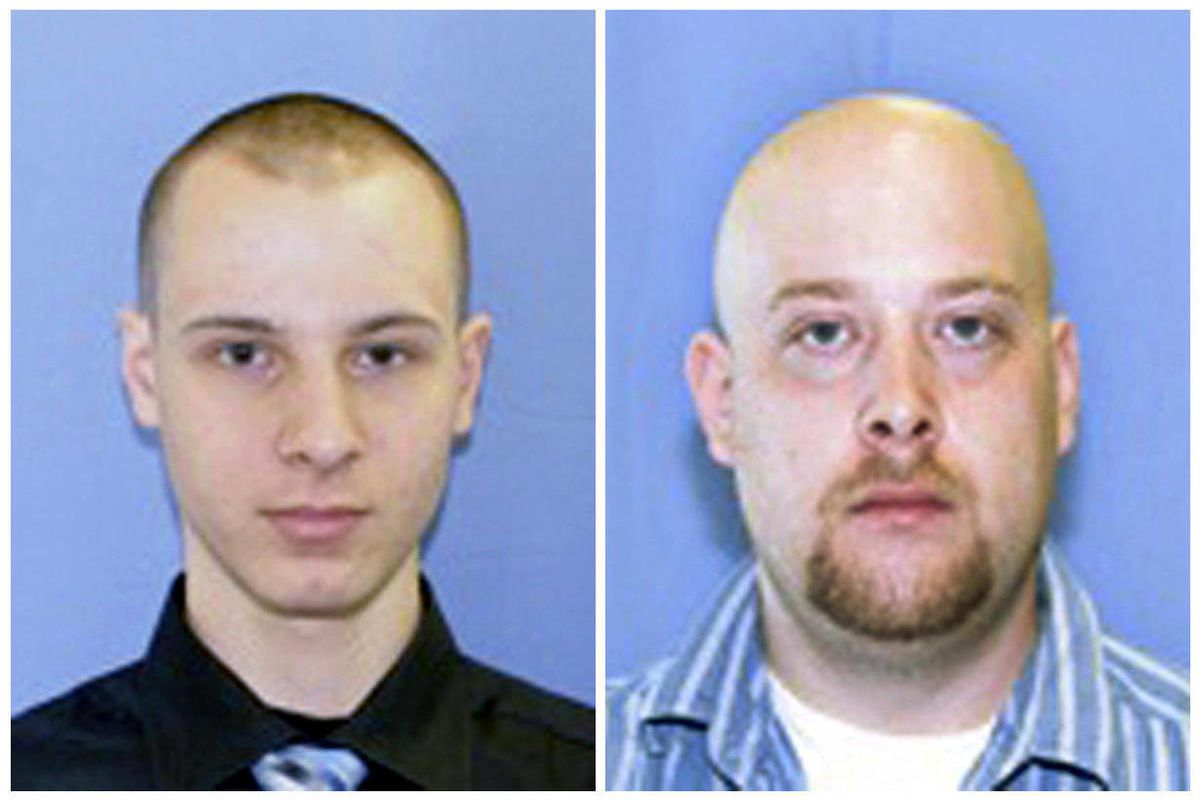 This combination of two undated photos provided by the Pittsburgh police shows Garda Cash Logistics armored car guards Kenneth Konias Jr., 22, of Dravosburg, Pa., left, and his partner, Michael Haines, of East McKeesport. Konias, wanted on charges he stol