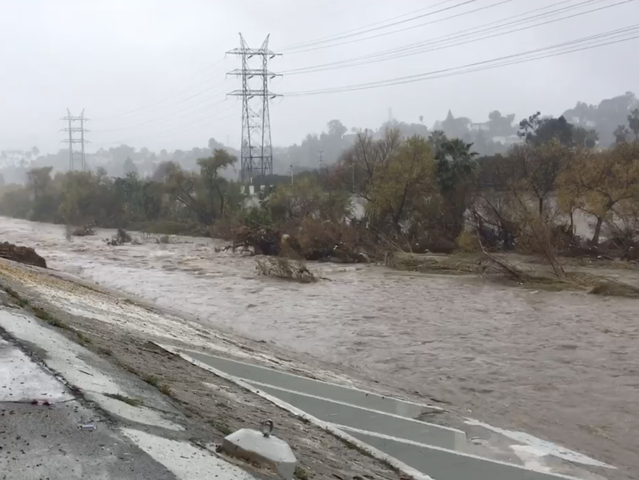 Screen grab of a video of the LA River during a rainstorm on January 17.