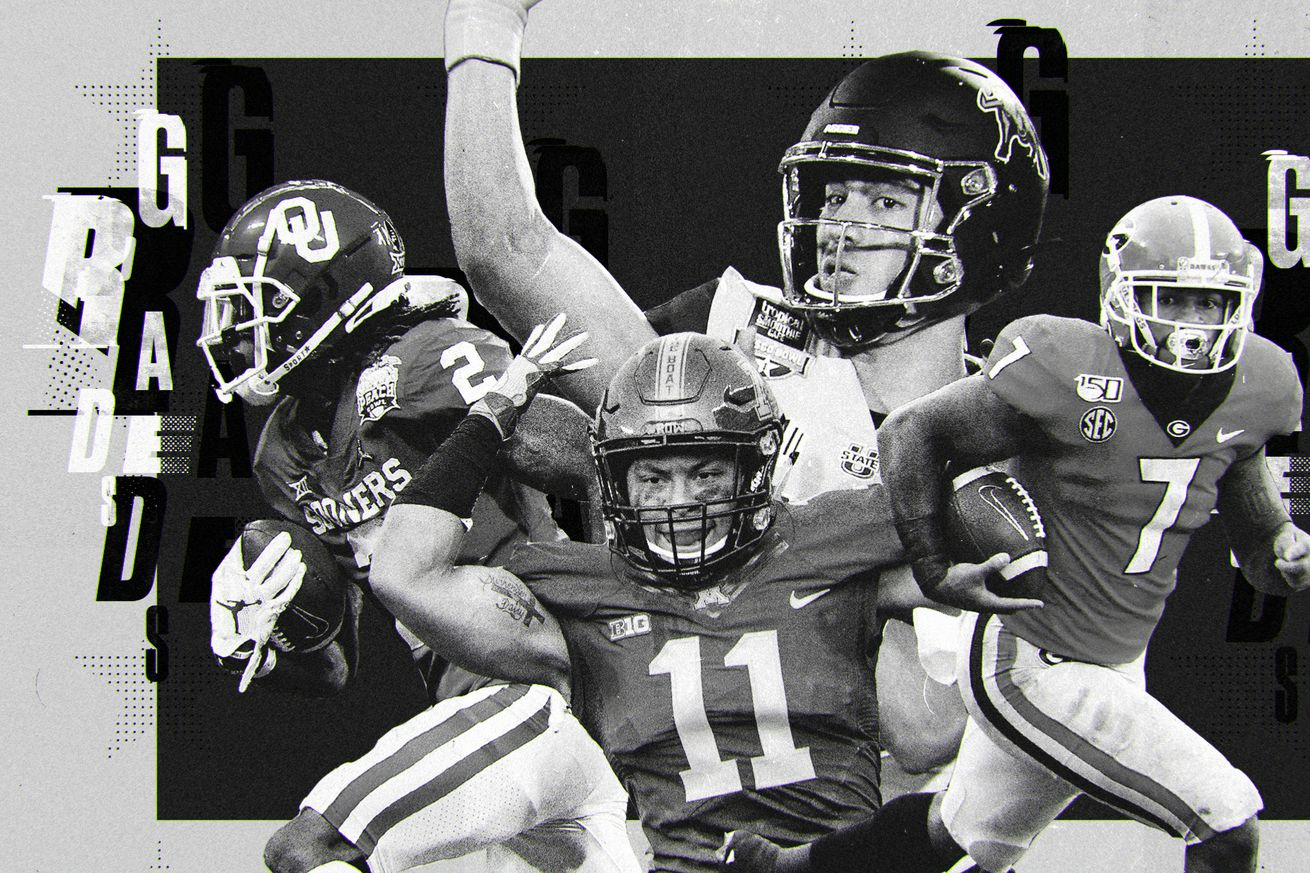 """A black and white art collage of NFL Draft picks CeeDee Lamb, Antoine Winfield Jr., Jordan Love, D'Andre Swift, with """"grades"""" in the background"""
