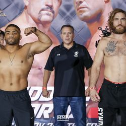 Deron Winn and Tom Lawlor face the crowd at the Liddell vs. Ortiz 3 ceremonial weigh-ins in Inglewood, Calif.