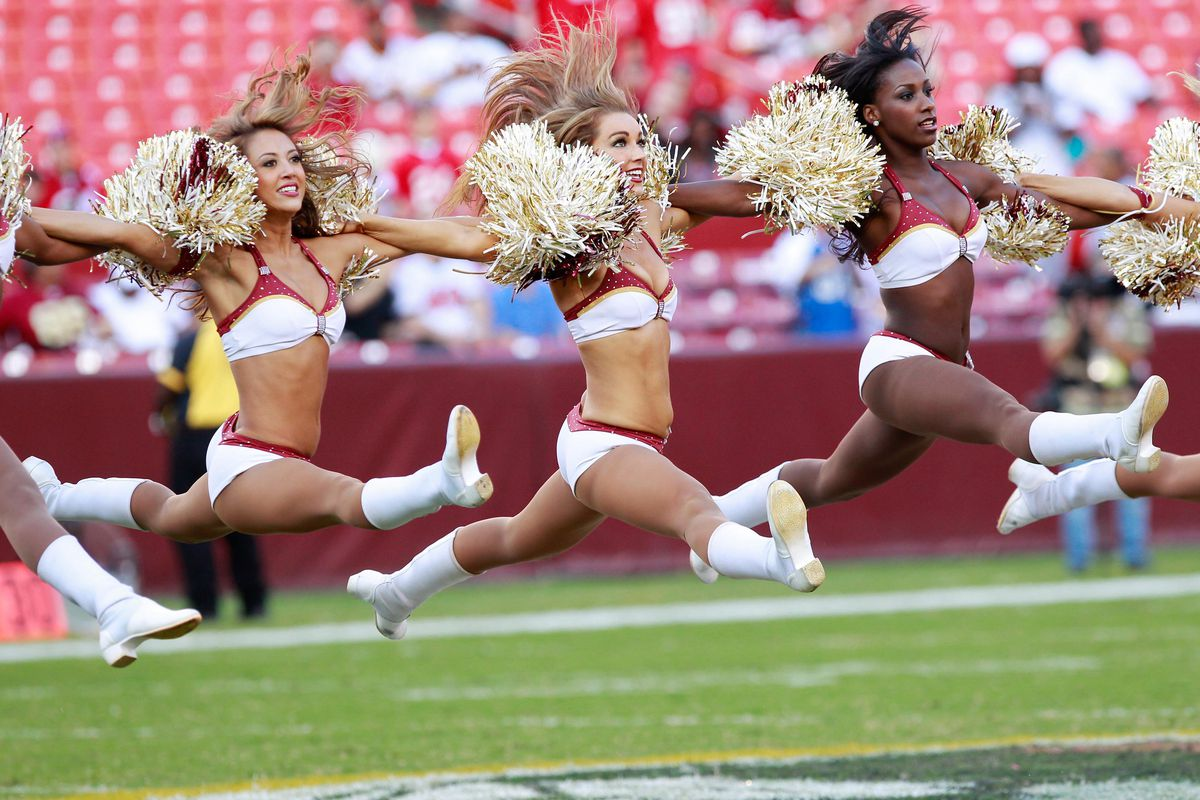 August 29, 2012; Landover, MD, USA; Washington Redskins cheerleaders dance on the field during a timeout against the Tampa Bay Buccaneers at FedEx Field. The Redskins won 30-3. Mandatory Credit: Geoff Burke-US PRESSWIRE