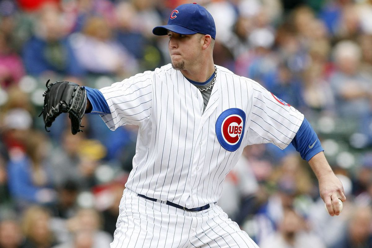 Chicago, IL, USA; Chicago Cubs starting pitcher Paul Maholm delivers a pitch against the Atlanta Braves at Wrigley Field. Credit: Jerry Lai-US PRESSWIRE