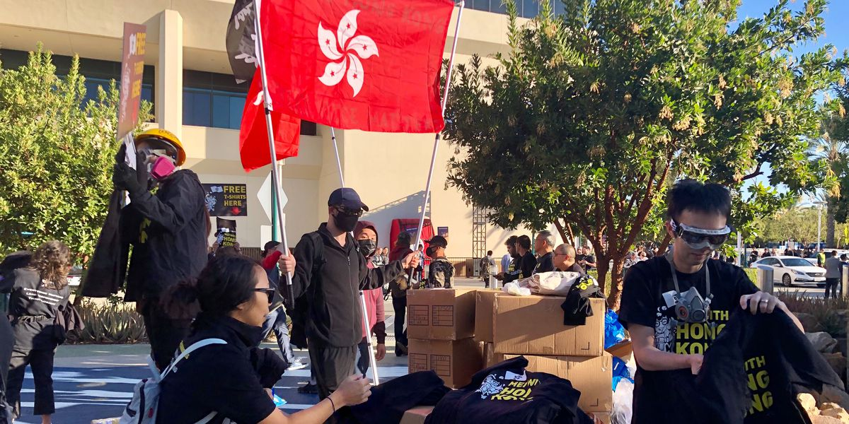 Hong Kong protesters are assembling outside of BlizzCon