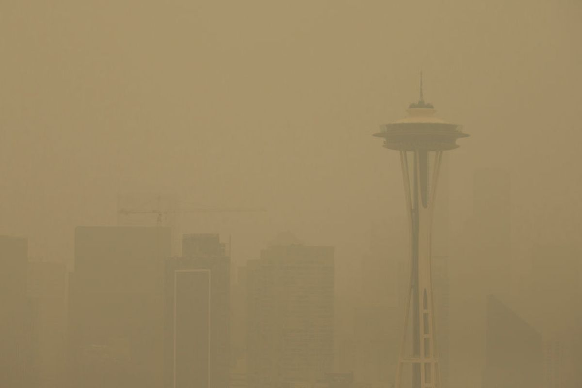 The Space Needle in Seattle can barely be seen through the haze related to wildfire smoke.