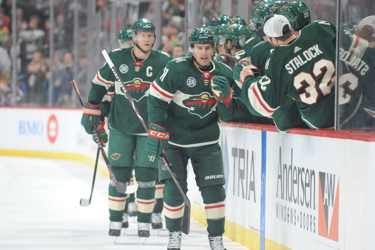 Nov 17, 2018; Saint Paul, MN, USA; Minnesota Wild forward Zach Parise (11) celebrates his goal during the first period against the Buffalo Sabres at Xcel Energy Center.