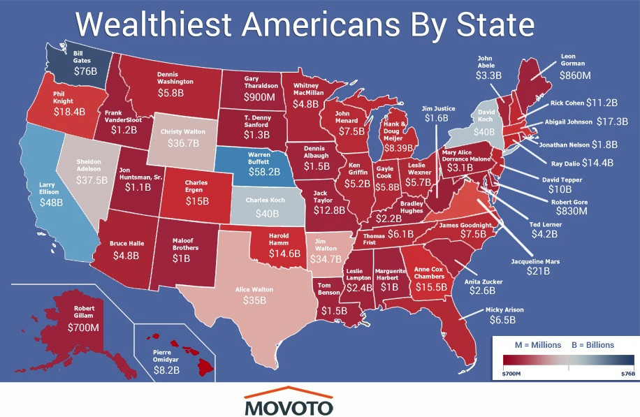 Wealthiest American by state